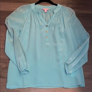 Lilly Pulizer Aqua blue Elsa blouse